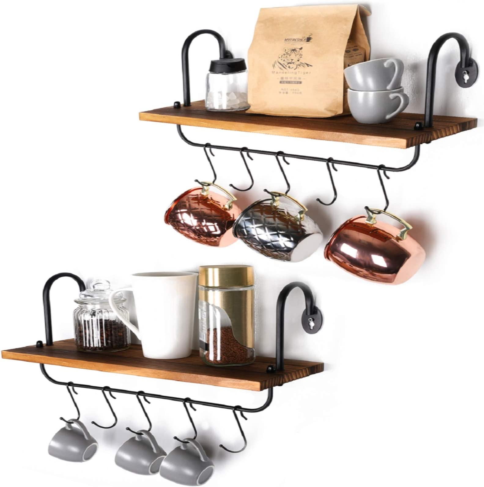 Olakee Floating Wall Shelves for Kitchen Bathroom Coffee Nook with 10 Adjustable Hooks for Mugs Cooking Utensils or Towel Rustic Storage Shelves Set of 2/17x5.9 inch (Carbonized Black)