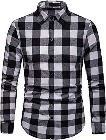 JOLIME Camisa Hombre Cuadros Blanco y Negro Manga Larga Elegante Casual Trabajo Blusas
