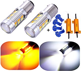1157 2057 2357 7528 Turn Signal White Yellow Amber Switchback LED Light Bulbs 22 SMD with Projector, for Standard Socket, Not CK, Pair of 2 with Load Resistors
