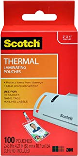 Scotch Thermal Laminating Pouches, 5 Mil Thick for Extra Protection, 2.4 x 4.2-Inches, ID Badge without Clip, 100-Pouches ...