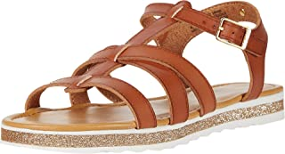 Strappy Flat Sandals for Girls - Open Toe Caged Styling T-Strap Kids Sandals with Glitter Footbed - Ajna