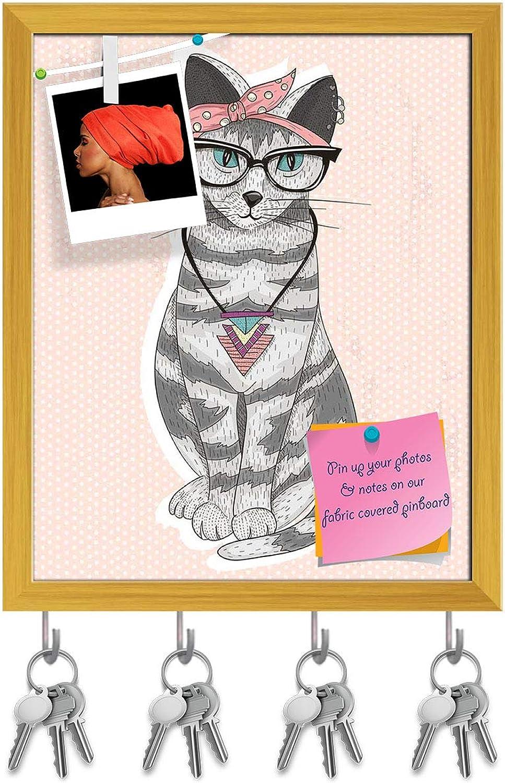 Artzfolio Cute Hipster Rockabilly Cat Key Holder Hooks   Notice Pin Board   golden Frame 16 X 19.8Inch