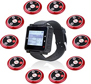 Retekess T128 Restaurant Pager System Calling System Call Buttons System Pager with Service Multi Purpose for Restaurant 10 Pager 1 Wrist Watch Pager
