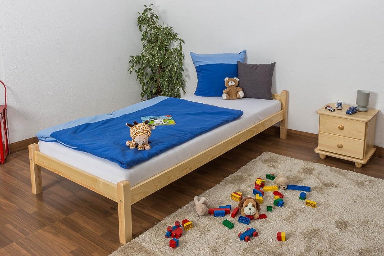 Kinderbett   Jugendbett Kiefer massiv Vollholz natur 100, inkl. Lattenrost - Abmessung 90 x 200 cm