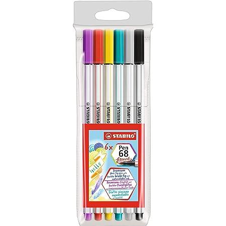 Pennarello Premium con punta a pennello per linee spesse e sottili - STABILO Pen 68 brush - Astuccio da 6 - con 6 colori assortiti