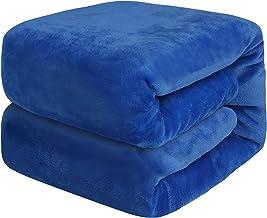 بطانية RONGTAI من الصوف لسرير الأريكة (أزرق داكن، رمي)