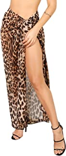 Women Summer Chiffon Leopard Print Long Beach Sarong Wrap Swimsuit Cover Up Skirt