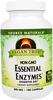 SOURCE NATURALS Vegan True Non-GMO Essential Enzymes 500 Mg Vegetable Capsule, 180 Count