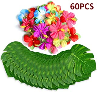 60Pcs Tropical Party Decorations Supplies Tropical Palm Leaves Hibiscus Flowers Simulation Artificial Leaf for Hawaiian Luau Safari Party Jungle Beach Theme BBQ Birthday Party Decorations Table Decor