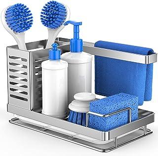 Sink Caddy Organizer, Sponge Holder for Kitchen Sink, Multifunctional Sink Caddy Sponge Soap Brush Dishcloth Storage, 304 ...