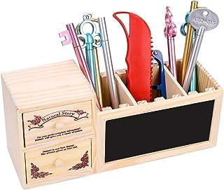 Utensilienschalen Stiftebox Stiftek/öcher Tisch-Organizer Stiftek/öcher 8 F/ächer XIAMUSUMMER Schreibtisch Organizer Bambus