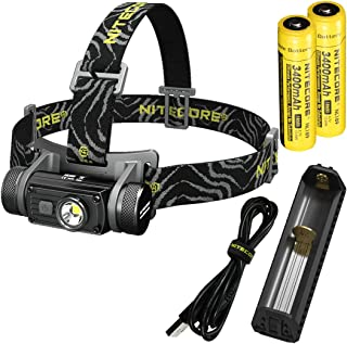Nitecore HC60 1000 Lumen USB Rechargeable LED Headlamp with 2X 3400 mAh Rechargeable Batteries, USB Charger and LumenTac Adapters