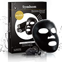SYMBOM Deep Cleansing & Moisturizing Collagen Essence Face Mask Sheet, Natural Japanese Binchotan Charcoal Facial Mask, Instant Brightening and Hydrating with Hyaluronic Acid Sheet Mask 10 Pack