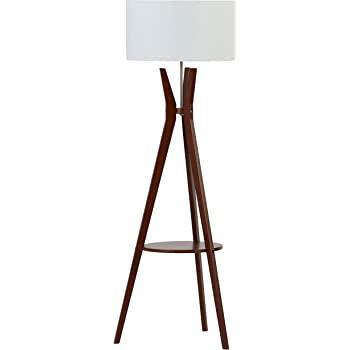 Amazon Brand – Rivet Zoey Mid Century Modern Tripod Living Room Floor Lamp With Light Bulb and Table - 18.5 x 18.5 x 58 Inches, Walnut