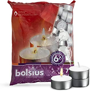 BOLSIUS Tea Lights Candles - Pack of 70 White Unscented Candle Lights with 6 Hour Burning Time - Tea Candles for Wedding, Home, Parties, and Special Occasions
