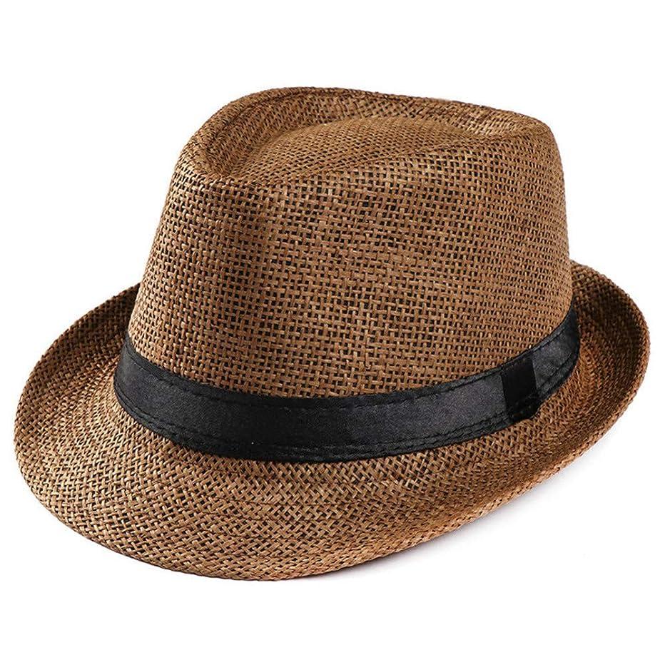 CGXBZA Mens Straw Hattrendy Beach Sun Straw Panama Jazz Hat Cowboy Fedora Hats Gangster Cap Chapeau Summer Female Hat Sunhat Woman