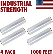 18 Inches X 1000 Feet Tough Pallet Shrink Wrap, 80 Gauge Industrial Strength Plastic Film, Commercial Grade Strength Film, Moving & Stretch Packing Wrap, for Furniture, Boxes, Pallets (4-Pack)