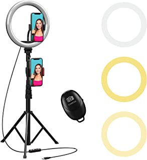 "10 inch Selfie Ring Light with 59"" Extendable Tripod Stand & Flexible Phone Holder Beam Electronics Desktop LED Camera Rin..."