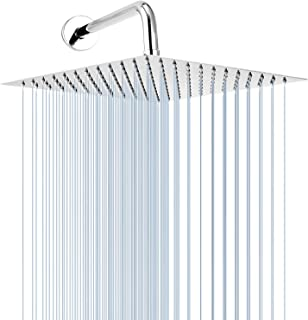 GGStudy 12 Inches Square Rain Shower Head Large Stainless Steel High Pressure Shower Head, Ultra Thin Bath Shower with 15 Inch Extension Shower Arm Chrome Self-cleaning Silicon Nozzle