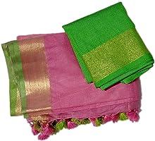Shoplex Women's Bhagalpuri Linen Saree With Unstitched Blouse Piece (SPL_116_Black)
