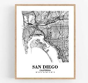 Eleville 8X10 Unframed San Diego California City View Abstract Road Modern Map Art Print Poster Wall Office Home Decor Minimalist Line Art Hometown Housewarming wgn473