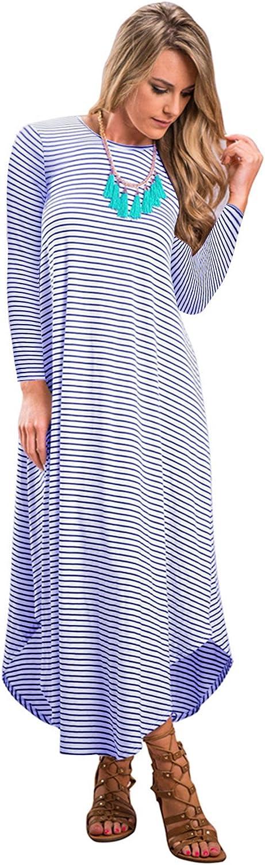JYUAN Women's Casual Summer Boho Sleeveless Striped Beach Long Maxi Dress