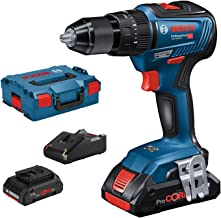 Bosch Professional 06019H5304 GSB 18V-55-Taladro percutor (2 baterías ProCore x 4.0 Ah, 18V, 55 NM, en L-BOXX), 18 V, Azul