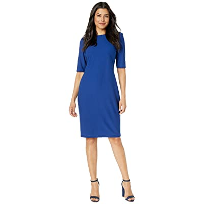 Gabby Skye Solid Savanah Crepe Midi Dress (Royal) Women