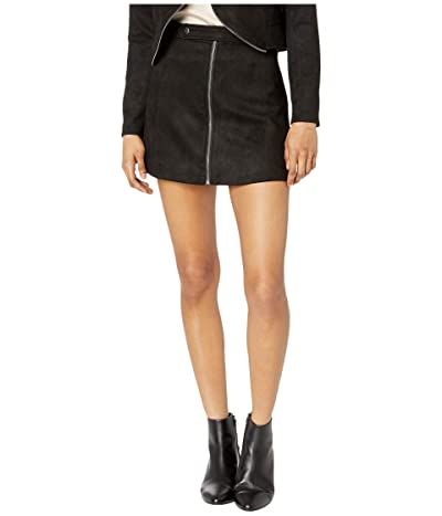 BB Dakota Lady Crush Faux Suede Skirt (Black) Women