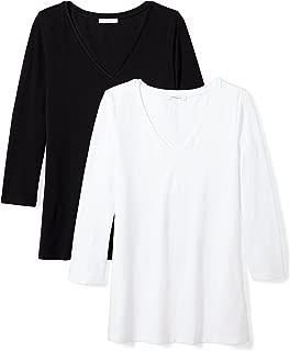 Amazon Brand - Daily Ritual Women's Stretch Supima 3/4-Sleeve V-Neck T-Shirt