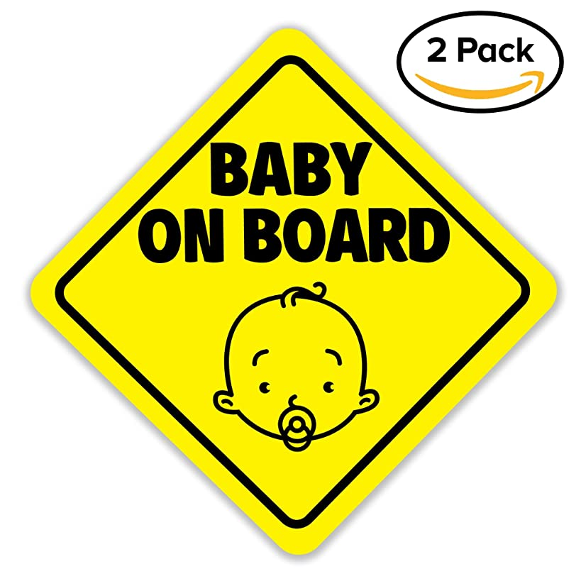 Baby On Board Sign Magnet for Car, Magnetic and Reflective Safety Cute Design 2 Pack by BabyPop!