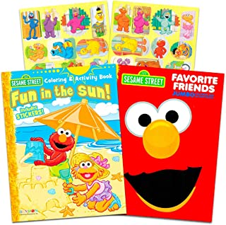 Sesame Street Elmo Coloring Book Set with Stickers (2 Book Set)
