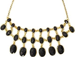 Magic Metal Black Crystal Choker Necklace Tiered Chainmail Link Collar NL30 Gold Tone Bib Pendant Fashion Jewelry