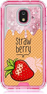 TurtleArmor   Compatible with Samsung Galaxy J3 (2018) Case   J337   Pink Fitted Dual Layer TPU Bumper Case with Flowing Liquid Waterfall Quicksand Glitter Sparkle Bling Hearts - Strawberry Ice Cream