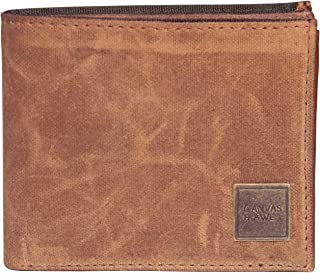 CANVAS & AWL Waxed Canvas & Leather Slim Bifold Wallet for Mens/Boys/Gents (CAMEL_ORANGE)
