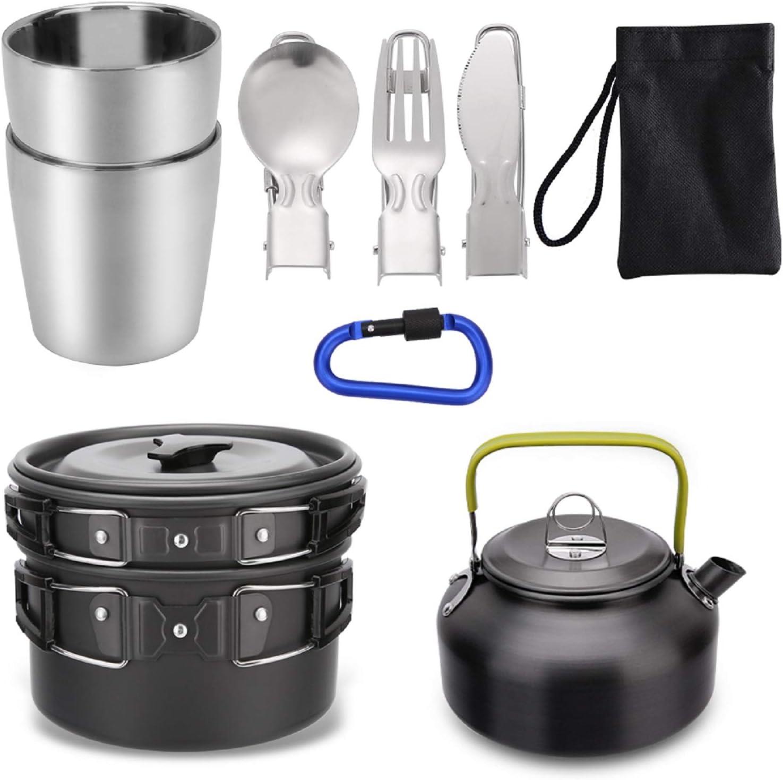 Mokoala Camping Cookware Kettle Pot Kit Mess 10Pcs Kansas City Mall A surprise price is realized Pan Lightwei