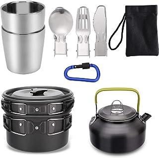Mokoala Camping Cookware Kettle Pot Pan Mess Kit, Lightweight Backpacking Gear for Outdoor Camping Backpacking Hiking Picnic