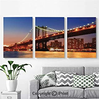 3PCS Triple Decoration Painting Wall Mural Manhattan Bridge with Night Lights over Hudson River Brooklyn Popular Town Image Living Room Dining Room Studying Aisle Painting ,16
