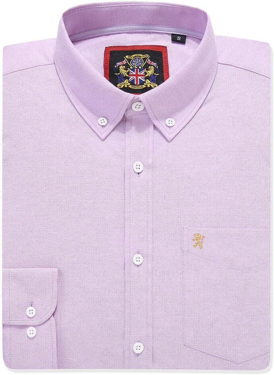 Janeo British Apparel Camisa de Manga Larga para Hombres, Modelo English Oxford Cuello con Botones, con Bolsillo y Bordado. Se Lleva con una Corbata o ...