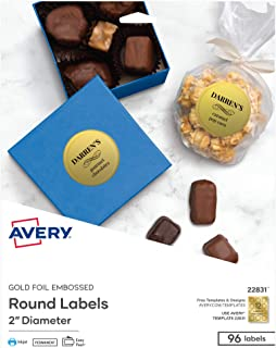 Avery Embossed 2 Inch Round Labels for Inkjet Printers Only, 96 Matte Gold Labels (22831)