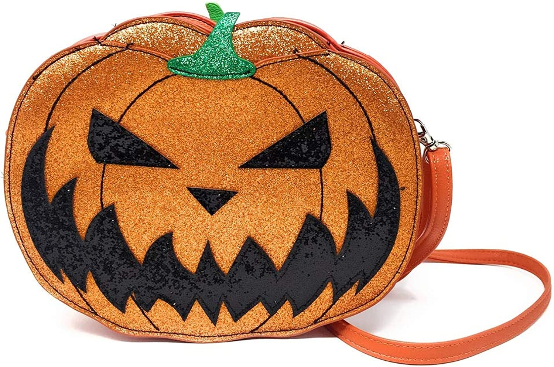 Sidecca Halloween Pumpkin Jack O Lantern Glitter Crossbody Bag