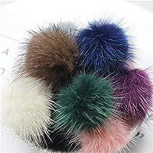 10Pcs Diy 4Cms Bolas de piel para coser en sombreros de punto Llavero Bufanda Piel Pom Pom Diy Artesanía Accesorios Mezcla 10 colores 40Mm