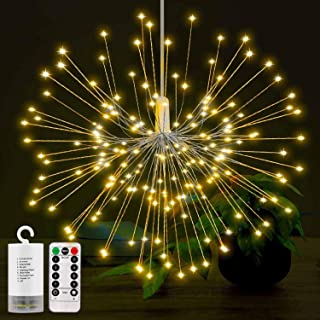 LED String Lights, Battery Operated Hanging Starburst Lights with 150LEDS, 8 Modes Dimmable with Remote Control, IP65 Waterproof, Decorative Copper Wire Lights for Parties. (Warm White)