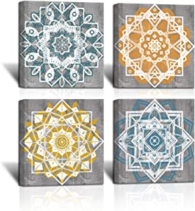 LoveHouse 4 Panel Mandala Wall Art for Bedroom Boho Flowers Pattern Canvas Prints Picture Colorful Mandala Flower Picture Bohemian Artwork Prints for Bathroom Ready to Hang 12x12inchx4 Panel