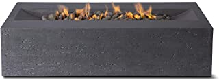 Pyromania Millenia Outdoor Fire Pit Table. Hand Crafted from Concrete. 60,000 BTU Stainless Steel Burner with Electronic Ignition - Propane, Charcoal Color (Lava Rock Included)