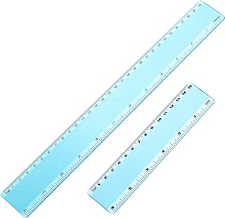 eBoot Plastic Ruler Straight Ruler Plastic Measuring Tool 12 Inches and 6 Inches, 2 Pieces (Blue)