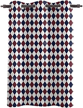 Vandarllin Decorative Window Curtain, Diamond Grid Polyester Fabric Darkening Drapes Grommet Treatments for Home Living Bedroom Kitchen, 52x45in USA Flag Red White Blue