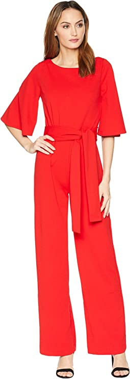 3/4 Sleeve Boat Neck Jumpsuit