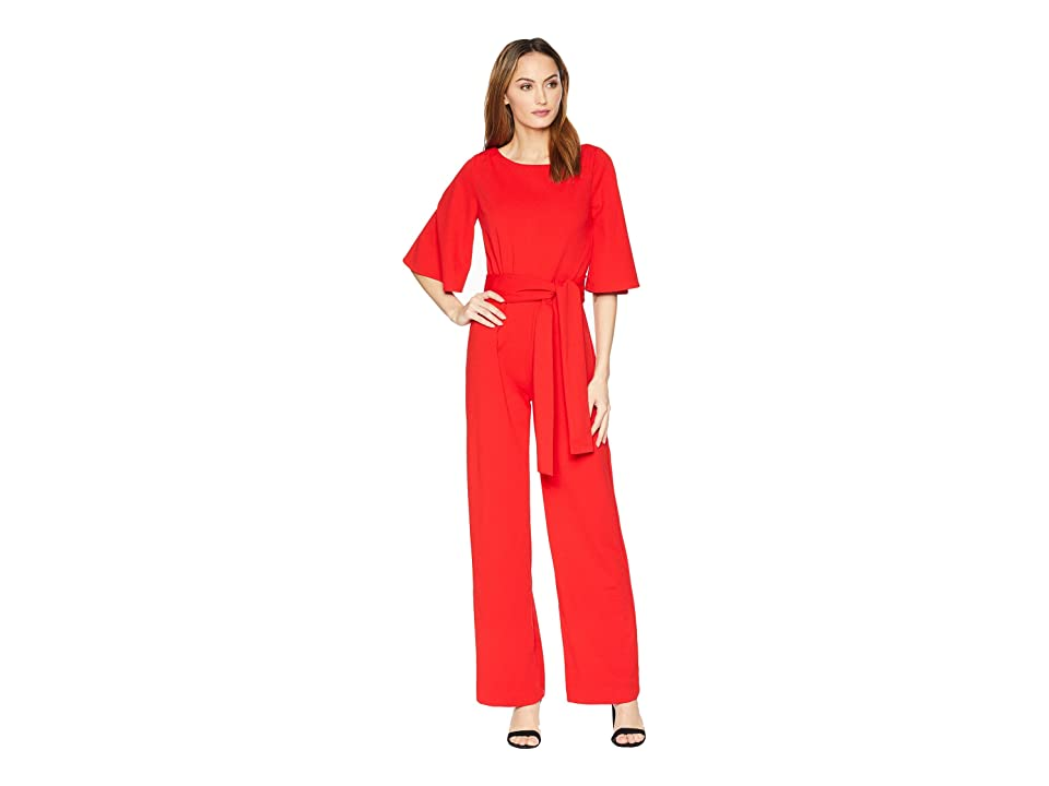 Image of ALEXIA ADMOR 3/4 Sleeve Boat Neck Jumpsuit (Red) Women's Jumpsuit & Rompers One Piece