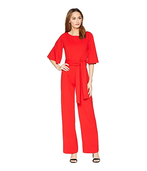 ALEXIA ADMOR 3/4 Sleeve Boat Neck Jumpsuit, Red
